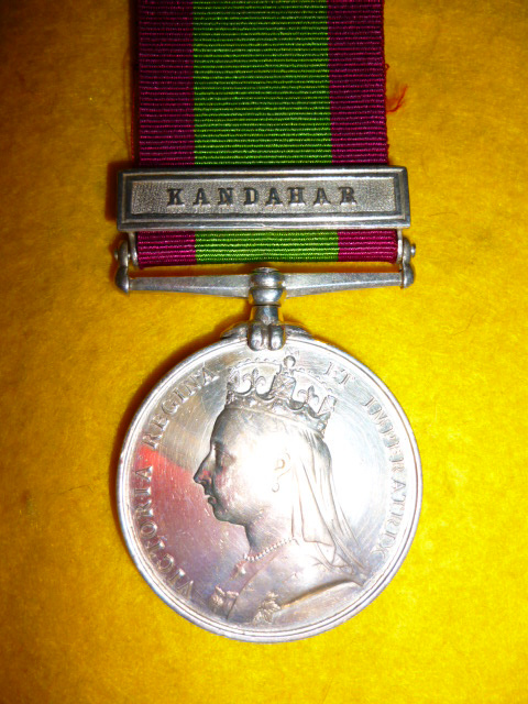 Afghanistan Medal 1878-1880, clasp 'Kandahar' to 2nd Central India Horse