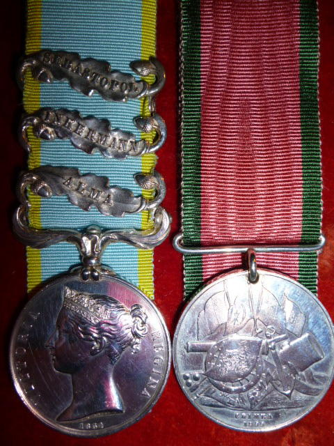 Crimean War Medal Pair (3) clasps, officially impressed, 1st Bn. Rifle Brigade, Turkish Crimea, Brit