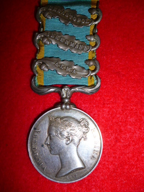 Crimean War Medal, (3) clasps to 38th Foot, (South Staffordshire), Off. Impressed