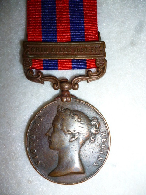 "India General Service Medal 1854-95, Bronze issue, Clasp ""Chin Hills 1892-93, to a Bearer, C.T.D."