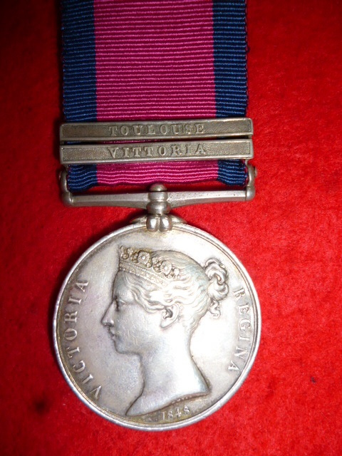 Military General Service Medal 1793-1814, (2) clasps, Vittoria, Toulouse to The 10th Hussars