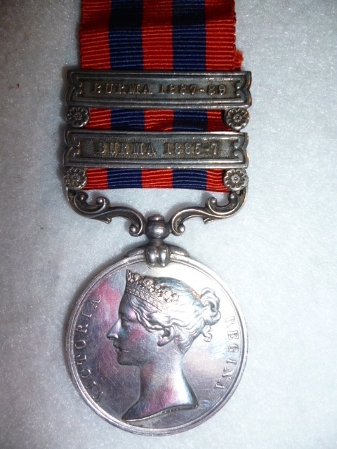 India General Service Medal 1854-95, (2) clasps; Burma 1885-7  & Burma 1887-89 to The Rifle Brigade