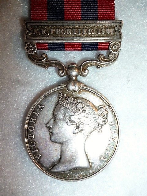 India General Service 1854-95, 1 clasp, N.E. Frontier 1891 to 44th Bengal Infy. (Gurkhas)