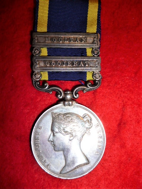 Punjab Medal 1848-49, 2 clasps, Mooltan, Goojerat  to 10th Foot (Lincolnshire Regiment)