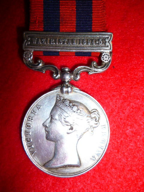 India General Service Medal 1854-95, 1 clasp, Waziristan 1894-5, Bronze to The Border Regt.