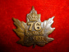76th Battalion (Barrie, Ontario) Collar Badge