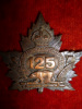 125th Battalion (Brantford, On) Officer's Quality Bronze Cap Badge