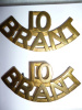 C36 - 10th Brant Dragoons Brass Shoulder Title Pair
