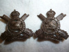 C9 - The Prince of Wales's Rangers (Peterborough Regiment) Officer's Bronze Collar Badge Pair