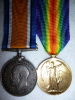 WW1 Medal Pair to a Mate, R,N.C.V.R. Served HMCS Rainbow.