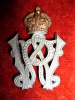 MM245 - Winnipeg Rifles Cap Badge, small size  44 mm high, Silver on Copper